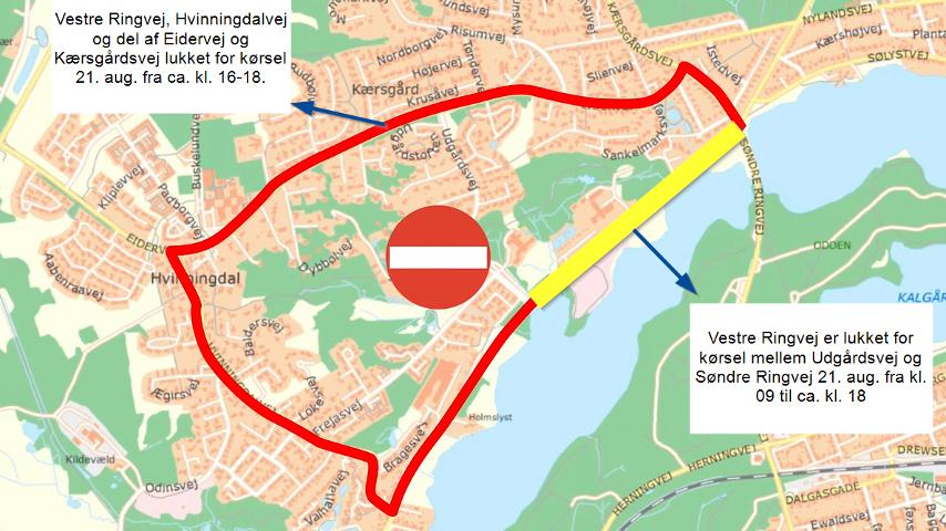 Kort over afspærringer af veje i Silkeborg by til PostNord Danmark Rundt 21. august